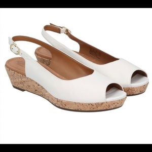 Clark's Orlena Currant white leather wedge sandal